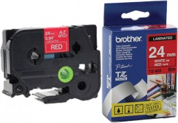 Brother P-Touch TZe-455 PT-E550WVP / PT-2420PC / PT-2430PC / PT-2700VP / PT-D600VP / PT-P700 / PT-P750W / PT-9500PC / PT-9700PC / PT-P900W LAMINATED TAPE 24 mm (ламинированная) Белый шрифт-красный фон (TZe455)