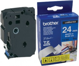 Brother P-Touch TZe-555 PT-E550WVP / PT-2420PC / PT-2430PC / PT-2700VP / PT-D600VP / PT-P700 / PT-P750W / PT-9500PC / PT-9700PC / PT-P900W LAMINATED TAPE 24 mm (ламинированная) Белый шрифт-голубой фон (TZe555)